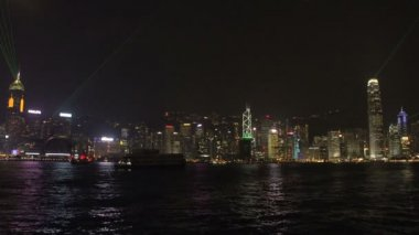 Hong Kong skyline light show with cruiseship — Stock Video