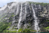 Geirangerfiord - Seven Sisters Waterfall — Stock Photo