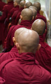 Monks queuing up for food — Stock Photo
