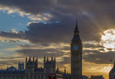 Sunset at the big ben in London — Stock Photo
