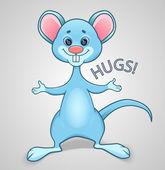 Blauwe muis wil knuffel — Stockvector