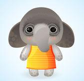 Elephant in yellow dress — Vettoriale Stock