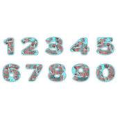 Neon prism numbers — Stockvektor