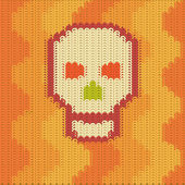 Knitting pattern skull — Stock Vector