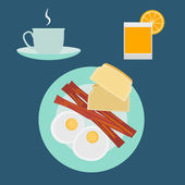 Flat modern design vector illustration concept of breakfast — Cтоковый вектор