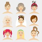 Düz modern tasarım vektör illüstrasyon kavramı saç modelleri. — Stok Vektör