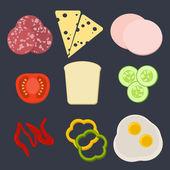 Flat modern design vector illustration concept of sandwich. — Cтоковый вектор