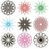 Round ornament set. Vector spirographs — Stock Vector