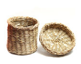 Small cylindrical wicker basket — 图库照片
