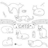 Contour cats set — Vetorial Stock