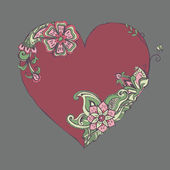 Red heart with fancy floral ornament for valentine day — Vector de stock