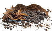 Coffee beans, ground coffee and star anise — Stock Photo