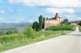 Viejo castillo de la volta, barolo en Italia en wineyar langhe — Foto de Stock