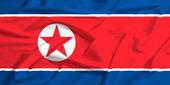 North Corea flag on a silk drape waving — Stock Photo