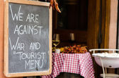 Restaurant blackboard outside a local in central Rome — Foto Stock