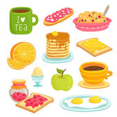 Breakfast icon cartoon set with various products — Stock Vector