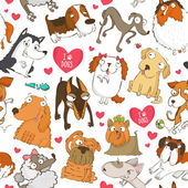 Pattern for dog lovers with dogs and hearts — Stock Vector