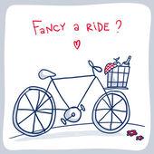 Skiss av cykel med en korg med saker för en picknick — Stockvektor
