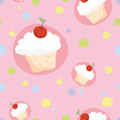 Cherry cupcakes — Stock Vector