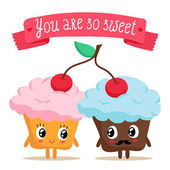 Pair of cupcakes sharing a cherry — Vector de stock