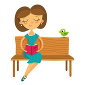 Girl sitting on a bench and reading a book — Stock Vector