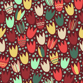 Pattern with stylized tulips — Stockvector