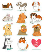 Set of cute dog characters — Stock Vector