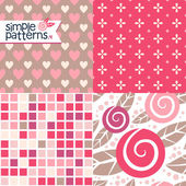 Four red patterns — Stock Vector