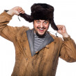 Happy crazy russian man laughing — Stock Photo #47175741