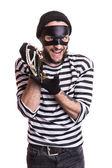 Happy criminal holding stolen jewelry — Photo