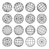 Set of abstract globes, vector illustration — Stock Vector