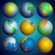 Set of globes, Color world map vector — Vector de stock