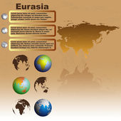 Eurasia map on brown background vector — Stock Vector