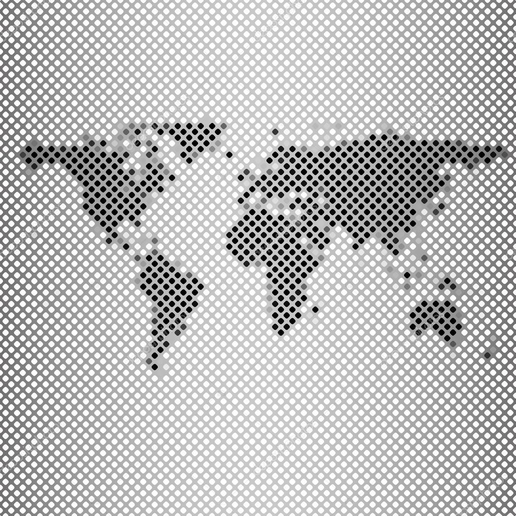 抽象的灰色马赛克,世界地图矢量图