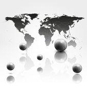 Fundo de mab mundo com 3d ilustração vetorial de esferas — Vetor de Stock