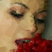 Beautiful woman eats fruit, abstract triangle design vector illustration — Stock Vector