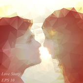 Loving couple kissing at sunset, beautiful vector background — Stock Vector