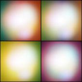Jeu abstrait d'arrière-plans multicolores, lumières défocalisés vector illustration. — Vecteur
