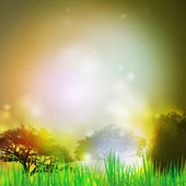 Abstract background with grass and silhouettes of trees vector illustration. Vector design for print or web — Wektor stockowy
