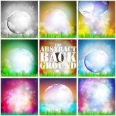 Set Of Colored Abstract Background of globe with grass vector illustration — Stock Vector