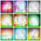 Set of abstract background with grass vector illustration. Vector design for print or web — Stock Vector