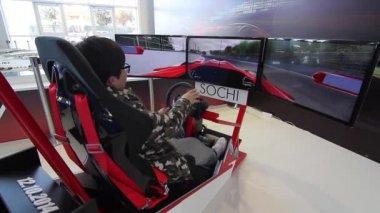 Formula 1 virtual training track. — Stock Video
