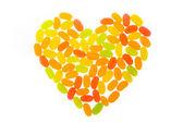 Jelly bean regelen als hart — Stockfoto