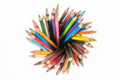 Many different colored pencils on top look like radius with whit — Stock Photo