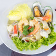 Постер, плакат: Seafood Salad thai call Yum Ta lay with shrimp arrange to hea