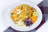 "Thai food Name ""Pad thai"" , Stir fry noodles with shrimp  and mi — Stock Photo"