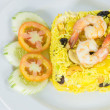 Garnished Yellow Fried Rice with shrimps — Stock Photo #50613987