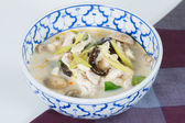 "Spicy coconut soup with chicken. thai call ""Tom Kha"" — Stock Photo"