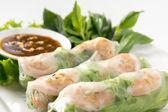 Fresh Roll with shrimp inside — Stock Photo