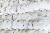 Used shuttlecock arrange in a row, background — Stock Photo